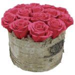 Birch Bowl Dark Pink Roses