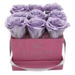 Heinau Roses Box (Madison Grey) Purple Flowers