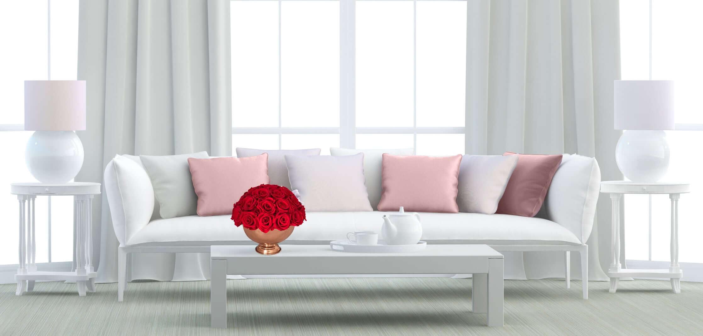Heinau Red Roses Floral Arrangement on Table Interior