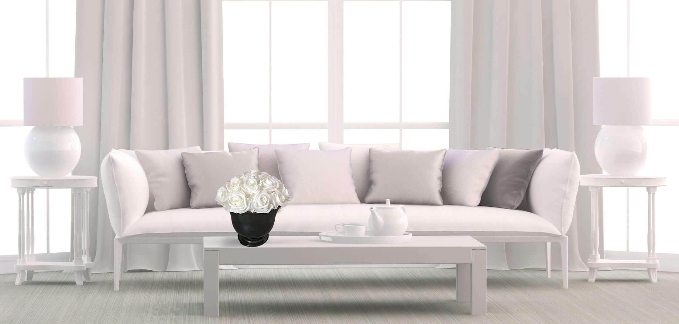 Heinau White Roses Floral Arrangement on Table Interior