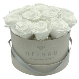 Heinau White Roses Signature Roses Box (Light Grey)