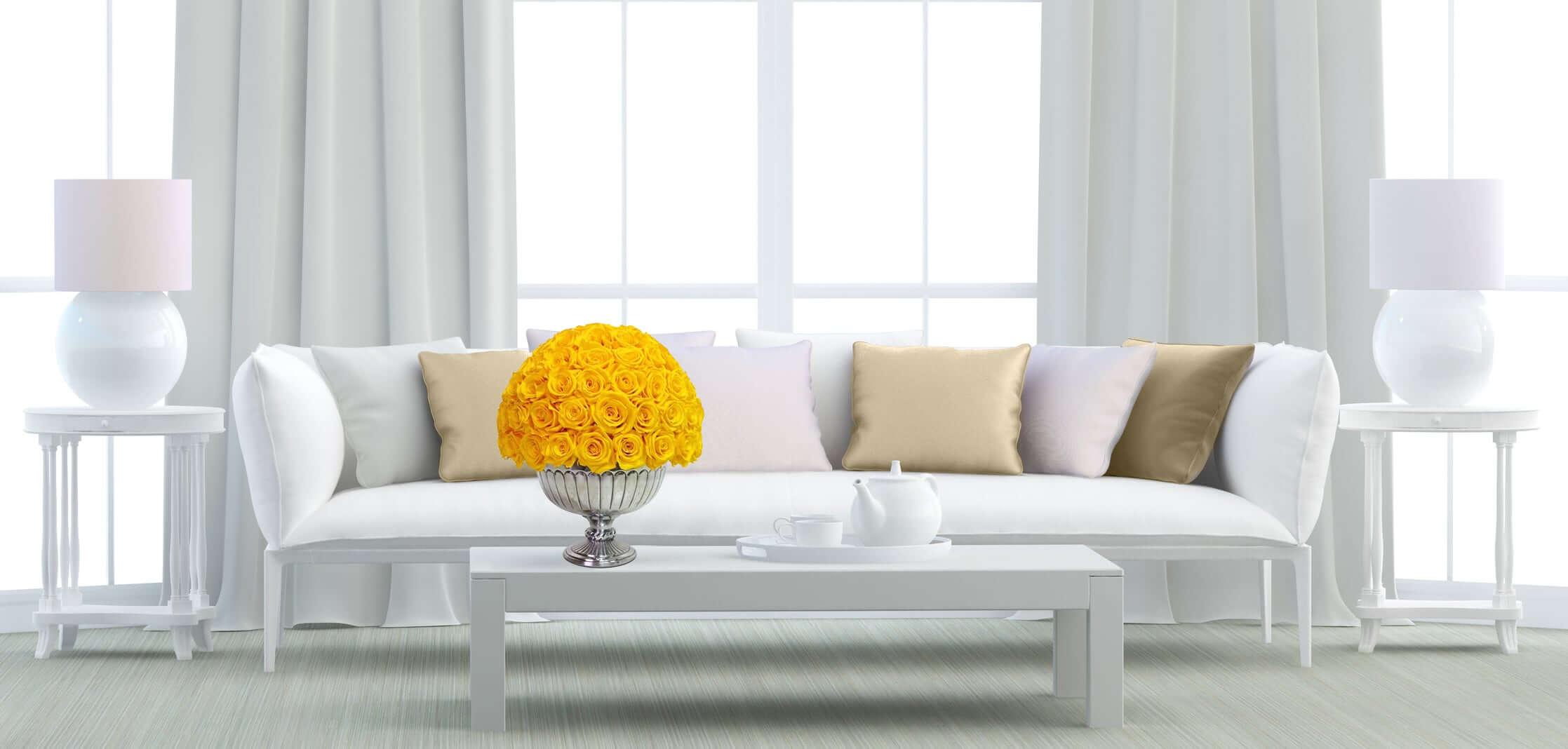 Heinau Yellow Roses Floral Arrangement on Table Interior
